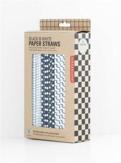 Black and White Paper Straw, Pack of 144