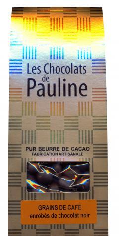 Cafea boabe invelite in ciocolata neagra