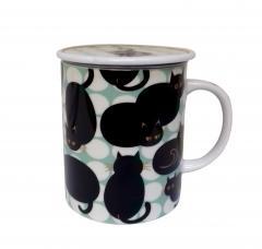 Cana cu capac - Dot Cat - Black Cat Green