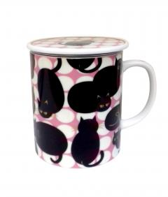Cana cu capac - Dot Cat - Black Cat Pink