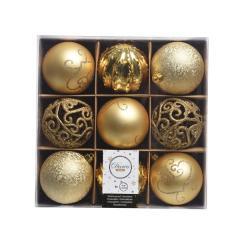 Set 9 globuri decorative - Bauble Mix Box - Light Gold