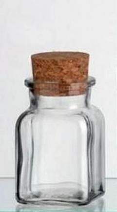 Borcan cu dop de pluta patrat, 0.174 L
