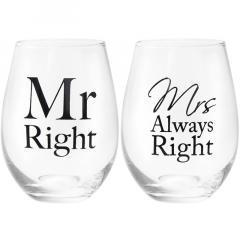 Set 2 pahare - Mr & Mrs Right, 400 ml