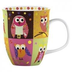 Cana in cutie cadou - Patchwork Owl