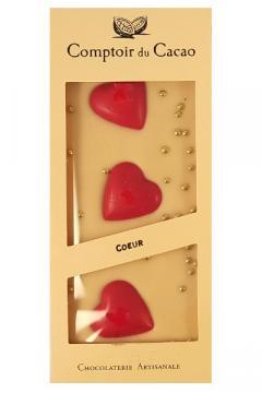 Tableta ciocolata alba cu inimioare din ciocolata alba