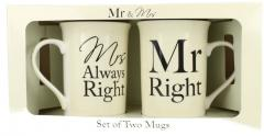 Set 2 cani cutie cadou  - Mr Right & Mrs Always Right