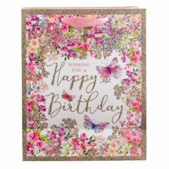 Punga de cadou medie - Pizazz Happy Birthday Floral