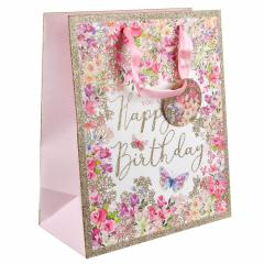 Punga de cadou mare - Pizazz Happy Birthday Floral