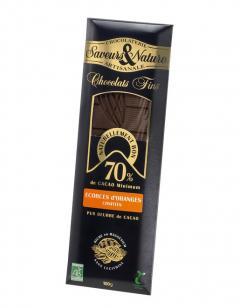 Ciocolata neagra Bio - Chocolat Noir 70% aux Ecorces d'Oranges Confites