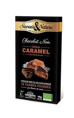 Bomboane cu ciocolata neagra si caramel - Fleur de sel Bio
