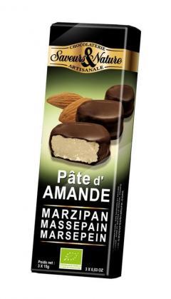 Praline de ciocolata neagra cu pasta de migdale si martipan bio - Pate amande