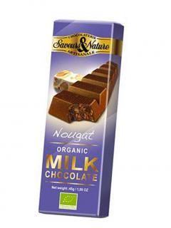 Ciocolata organica cu nuga si lapte