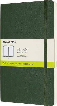 Carnet - Moleskine Notebook, Large, Plain, Myrtle Green, Soft Cover