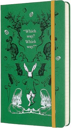 Agenda 2020 - Moleskine Limited Edition Alice's Adventures in Wonderland 12-Month Daily Notebook Planner - Green, Large, Hard cover