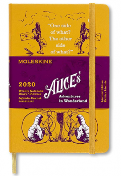 Agenda 2020 - Moleskine Limited Edition Alice's Adventures in Wonderland 12-Month Weekly Notebook Planner - Yellow, Pocket, Hard cover