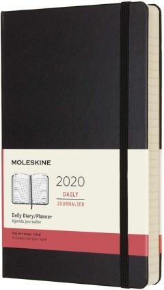 Agenda 2020 - Moleskine 12-Month Daily Notebook Planner - Black, Large, Hard cover