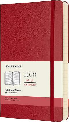 Agenda 2020 - Moleskine 12-Month Daily Notebook Planner - Scarlet Red, Large, Hard cover