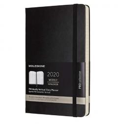 Agenda 2020 - Moleskine Pro 12-Month Weekly Notebook Planner - Black, Large, Hard cover