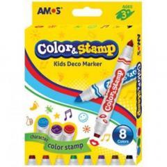 Set 8 carioci cu 2 capete - Amos Color&Stamp