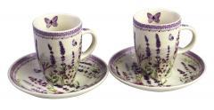 Set 2 cesti cu farfurie - Lavender Field