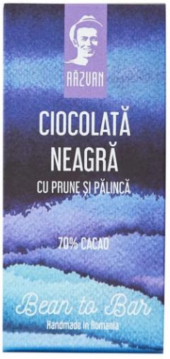 Ciocolata neagra artizanala cu prune si palinca - Razvan