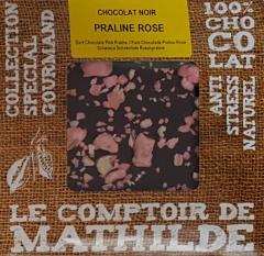 Tableta de ciocolata Comptoir de Mathilde neagra cu pralina roz