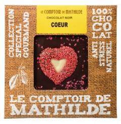 Tableta de ciocolata Comptoir de Mathilde neagra cu inimioara