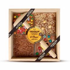 Ciocolata in cutie de lemn cu lapte asortiment