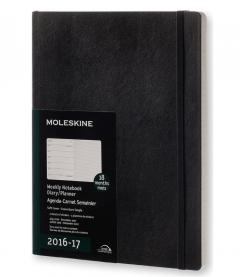 Agenda 18 luni 2016-2017 Moleskine - Planner Weekly - Extra Large Black - Soft Cover