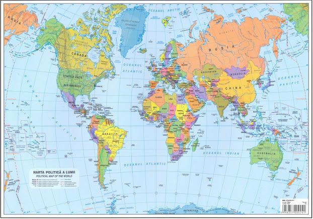 Plansa Harta Lumii A4 Fata Verso