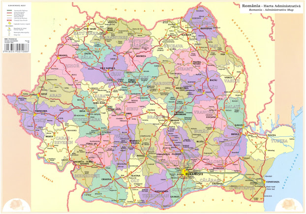 Plansa Harta Romania A3 Fata Verso