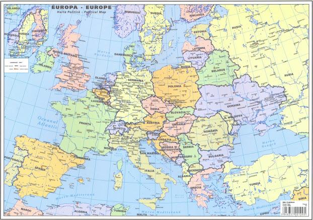 Plansa Harta Europa A3 Fata Verso