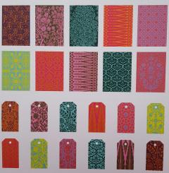 Set 10 hartii pentru impachetat si 12 etichete pentru cadou - Patterns of India
