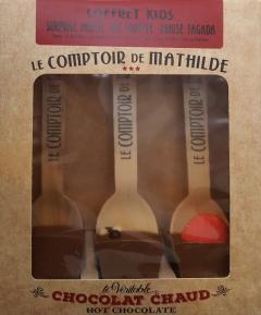Set 3 lingurite ciocolata calda cuburi Comptoir de Mathilde asortiment Kid's