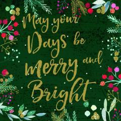 Felicitare Craciun_May Days be Merry Bright Foil Art Xmas Charity Christmas Cards