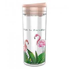 Sticla pentru apa SlideCup Crystal - Flamingo