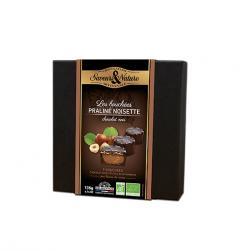 Cutie 9 praline cu ciocolata neagra si alune 135 G Bio