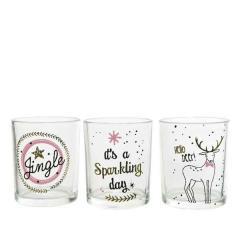Suport pentru lumanare - Tlighth with Decal Sparkle - Jingle, Sparkling Day, Deer - mai multe modele