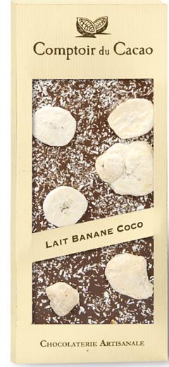Ciocolata cu lapte cu banane si nuca de cocos