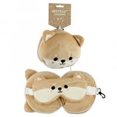 Set perna si masca pentru somn - Relaxeazzz Plush Cutiemals Shiba Inu Dog