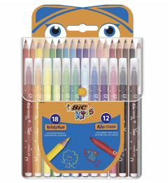 Set creativ - 18 Creioane colorate si 12 markere