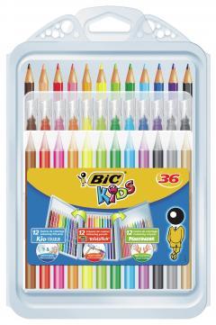 Set creativ - 12 Creioane colorate, 12 markere si 12 creioane cerate