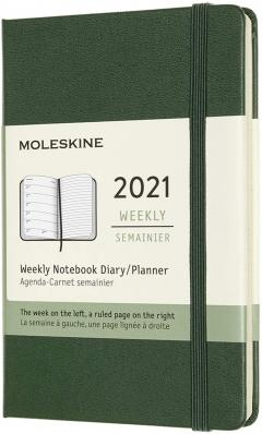 Agenda 2021 - Moleskine 12-Month Weekly Notebook Planner - Myrtle Green, Hardcover Pocket