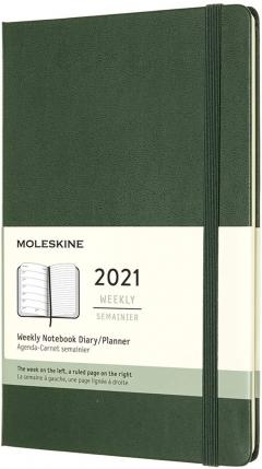 Agenda 2021 - Moleskine 12-Month Weekly Notebook Planner - Myrtle Green, Hardcover Large