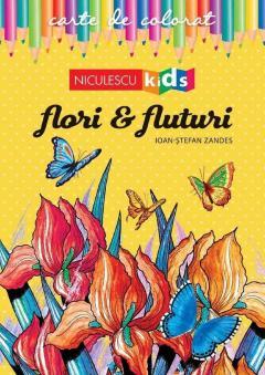 Carte de colorat - Flori si fluturi
