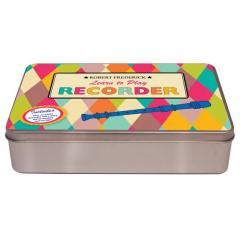 Set - Recorder in a flat brushed tin, Harlequin