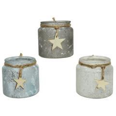 Suport pentru lumanare - Glitter, Star, Jute Rope - mai multe modele