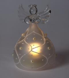 Decoratiune Craciun - Glass Angel with Light, pearls