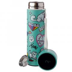 Termos - Simon's Cat Reusable Stainless Steel Hot & Cold Thermal Insulated Drinks Bottle Digital Thermometer